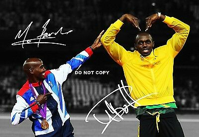 Mo Farah & Usain Bolt A4 Signed Glossy Photo Sport Poster Reprint 2012 Olympics