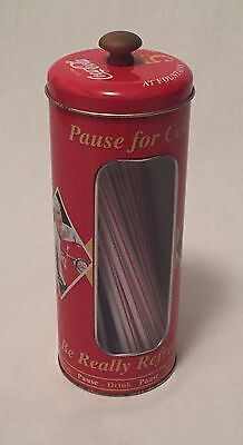 Vintage - Coca-Cola Tin Collectible Drinking Straw Holder - Pause For A Coke