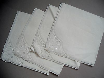 Vintage dinner napkins with  white lace insert  set of 4