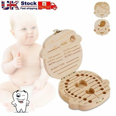 Wooden Tooth Storage Box Small Kids Childs Keepsake Baby Teeth Save Organizer