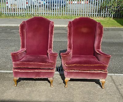 Pair Of Vintage Wing Back Armchairs For Reupholstery     Delivery Available