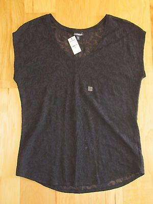 NWT Express women's short-sleeve lace top - black - scoop neck - S