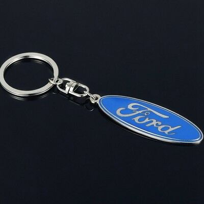 Auto Blue Car Logo Metal Key Chains Pendant Holder Silver Keyring for Ford