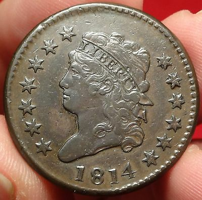1814 Classic Head Large Cent Extremely Fine S-295 Plain 4 Variety Early 1C Type