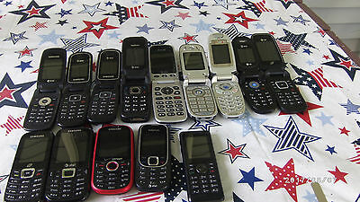 14 Used Cell Phone Lot Samsung LG Nokia Pantech Flip Phone