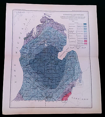 1898 USGS Michigan Lower Peninsula Geological Formations Map by Alfred Lane