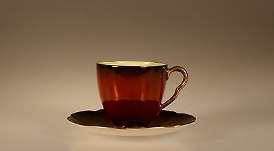 "Carlton Ware ""Rouge Royale"" Quatrefoil Cup and Saucer, England"