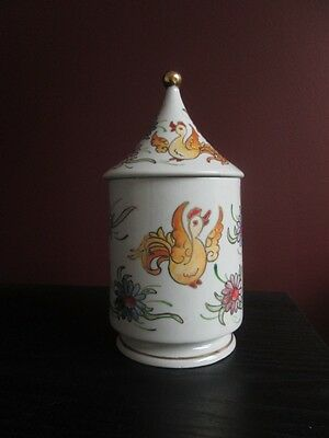 Signed ROYO HAND PAINTED Porcelain TEA CADDY HUMIDOR w Rooster & Floral Motif!