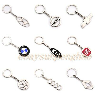 Auto 3D Car Logo Metal Key Chains Pendant Holder Silver Keyring for All Models