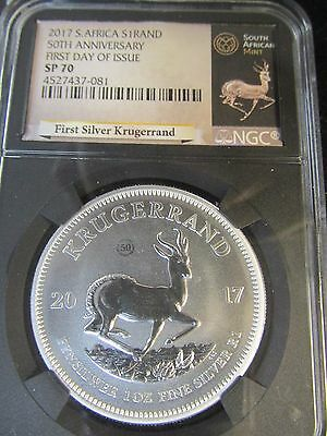 2017 50th Anniversary S. Africa Silver Krugerrand SP70 Specimen Proof 1st Day!!