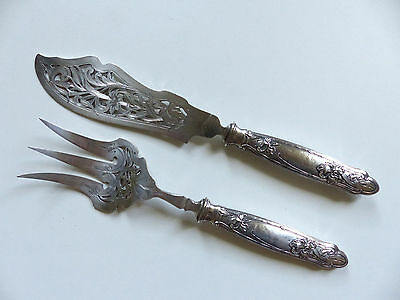 SUPERB FRENCH ART NOUVEAU STERLING SILVER 950 FISH SERVING SET with IRIS
