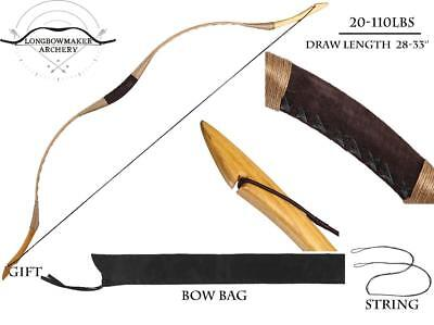10-110lb Handmade Brown Pigskin Archery Hunting Chinese Han Longbow Recurve Bow