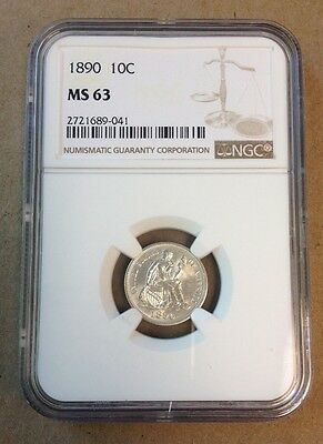 1890 Seated Liberty Dime! Graded by NGC MS 63!