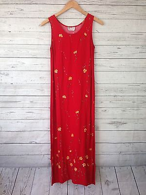 Vintage 90s Lagenlook red Floral yellow R&K long grunge Dress womens Sz 6 D1