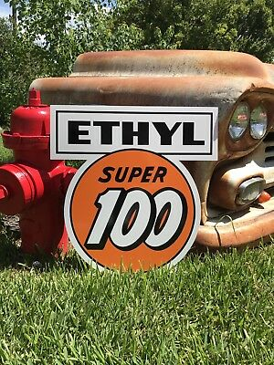 Antique Vintage Old Style Clark Gasoline Ethyl Super 100 Sign!