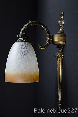 Vintage French Art Deco Brass Sconce With Pate De Verre Glass Shade