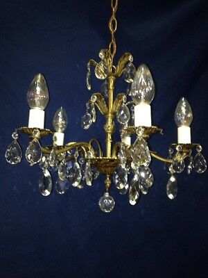 Antique Vintage Five Arm Cast Brass Spanish Regency Empire Crystal Chandelier