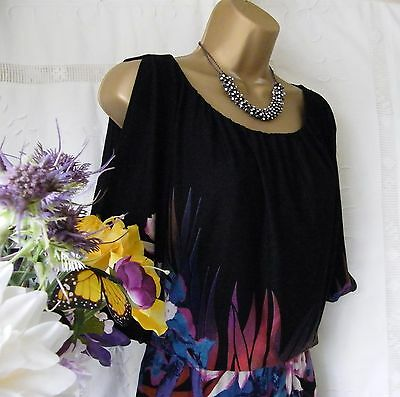 "Monsoon Pre-Owned ""floral Black"" Dress Size 14"