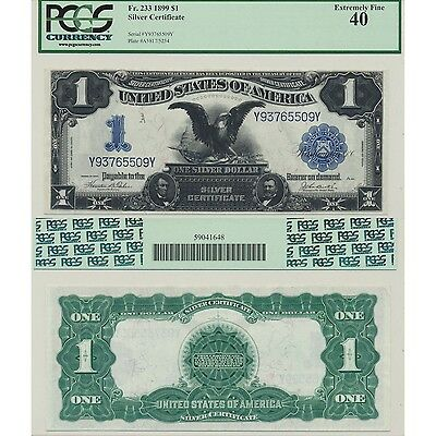 1899 $1 Black Eagle Silver Certificate Fr#233 PCGS Currency Extremely Fine 40