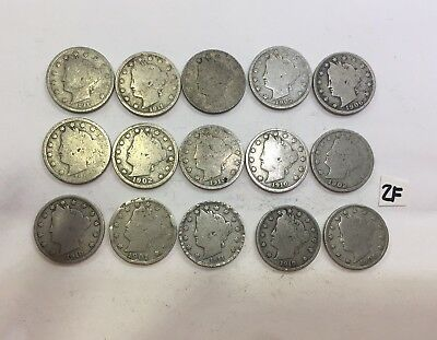 Lot Of 15 Various Dates V Nickels