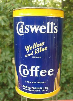 CASWELL'S Yellow & Blue Brand Coffee Tin Can 3 Lbs. San Francisco Calif *NO LID*