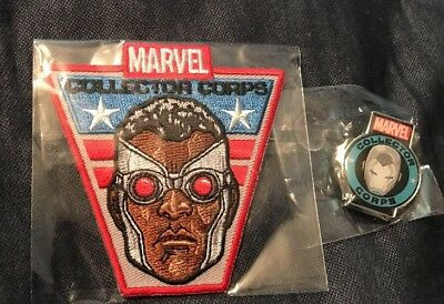 SOLD OUT Funko POP Marvel COMICS Collector's Corps Falcon Patch & Iron Man Pin