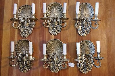 (6)  Antique Bronze Sconces With Seashell-Themed Back Plate. Caldwell