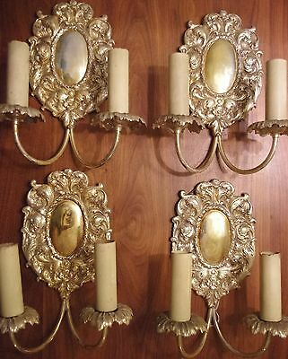 (4) Four Silver Plate Bronze E. F. Caldwell Sconces Two-Arms