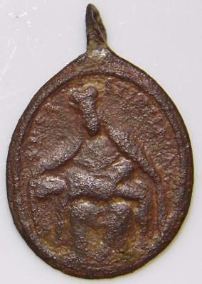 St. Isidore & Pieta Mother of Sorrows Rare Medieval HOLY MEDAL Patron Computers