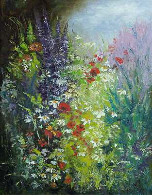 """Original painting artist signed oil on canvas Lawn  20"""" x 16"""""""