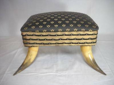 Vintage Steer Horn Footed Small Upholstered Stool Great Look For Any Decor