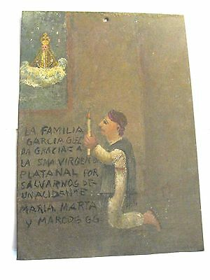 Original Exvoto/ Retablo Man Thanking Our Lady For Saving Family In Bad Accident