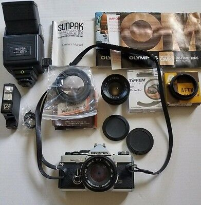 MINT OLYMPUS OM-2N SLR CAMERA w/ 2 LENSES AND ACCESSORIES