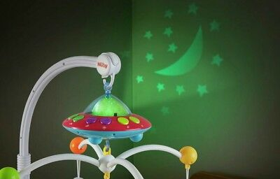 NUBY Musical Cot Mobile Colour Changing Projection. Lullabies- Brand New in Box