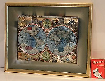 Map Gold Foil Print A New And Accvrat Map of the World 1626 Framed Glass Vintage