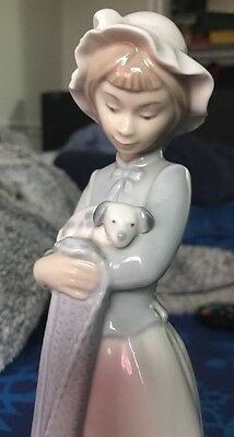 "Lladro Nao Girl Holding Puppy Porcelain Figure 10"" 1991 Mint!!!"