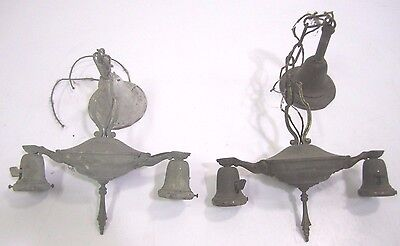 Vintage Antique Ornate Victorian Brass Matching Ceiling Lights 2 Bulb Pair (2)
