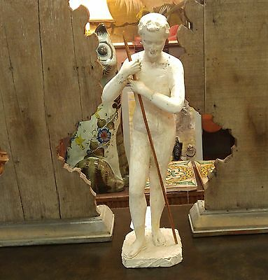 Classic European Antique Wooden Carved And Gesso Boy/man Figure Statue W/ Staff