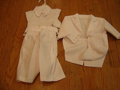 Infant Baby Boys Size 0-3 Months White 4 Piece Suit Christening Set