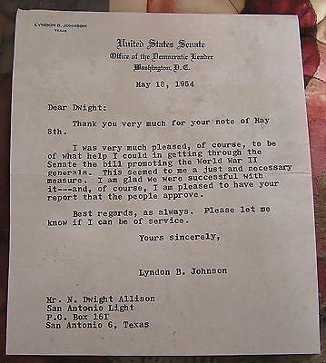 President Lyndon Johnson Signed 1954 Letter U.s Senate Office Of The Dem. Leader