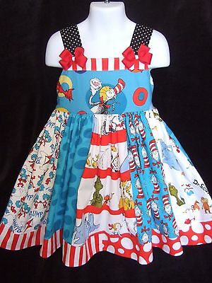 NEW custom Cat in the Hat  girls dress size 5,hair bows