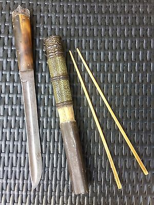 Antique Chinese / Tibetan knife & chopsticks set 19th century