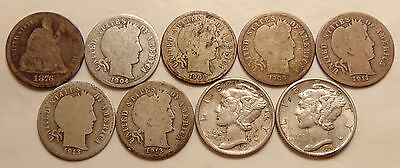 (9) pc lot of Mixed Dimes -1876-CC-1941-D  - Nice Coins for the grades