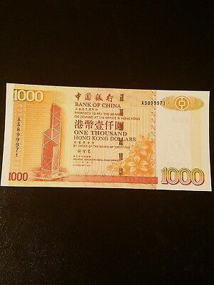 2001 hong Kong banknote 1000 dollars uncirculated