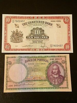 1941 Portugal 20 escudos 1962 Hong Kong 10 dollars