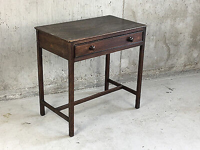 Victorian vintage small desk in stained pine with drawer