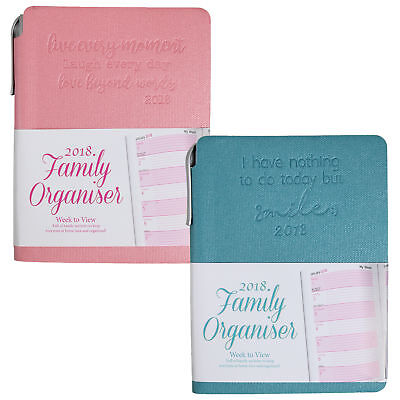 Tallon A6 Family Organiser Soft Cover Diary & Pen 2018 BLUE or PINK