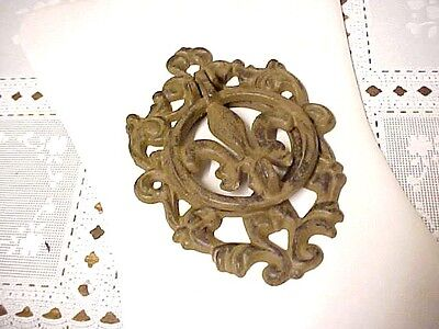 Antique vintage cast iron FLEUR DE LIS DOOR KNOCKER~~not painted