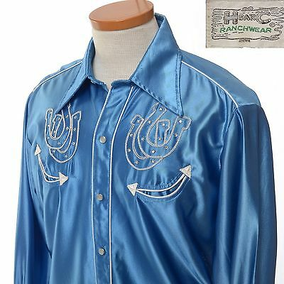 VT 1950's H Bar C Embroidered Rhinestone Blue Satin Rockabilly Western Men's L