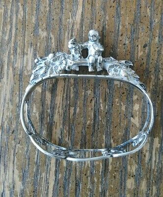 Figural Napkin Ring Child and Squirrel 835 Sterling Silver ALBO
